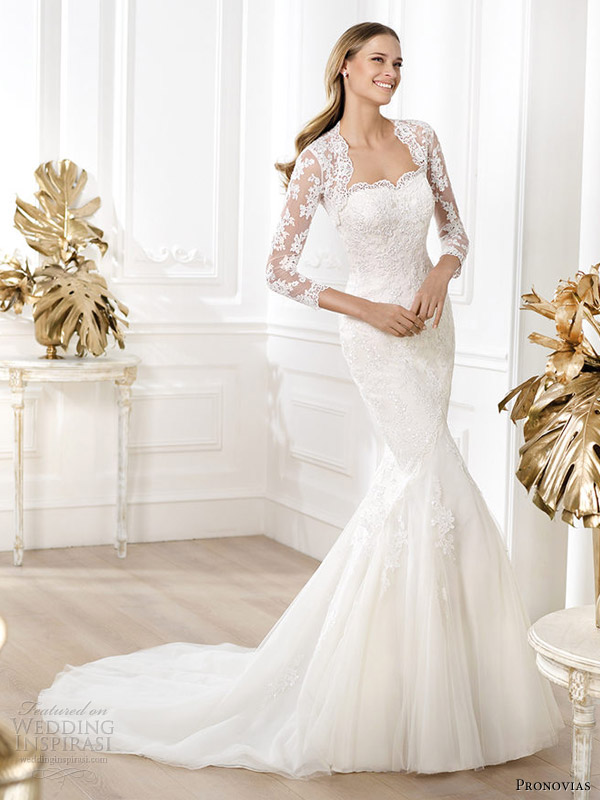 Pronovias-Bridal-2015-Fashion-Lanete-Straples-Lace-Gown-Sleeve-Jacket